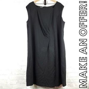 Lafayette 148 black ruche dress | Size 3X